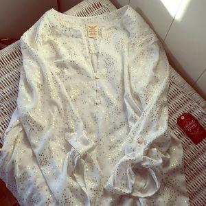 Gold sparkled cream blouse
